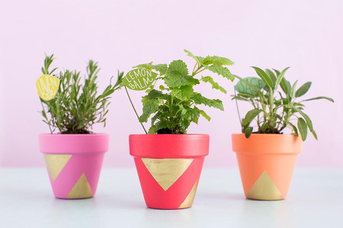 Decorare i vasi di terracotta con colori e forme geometriche