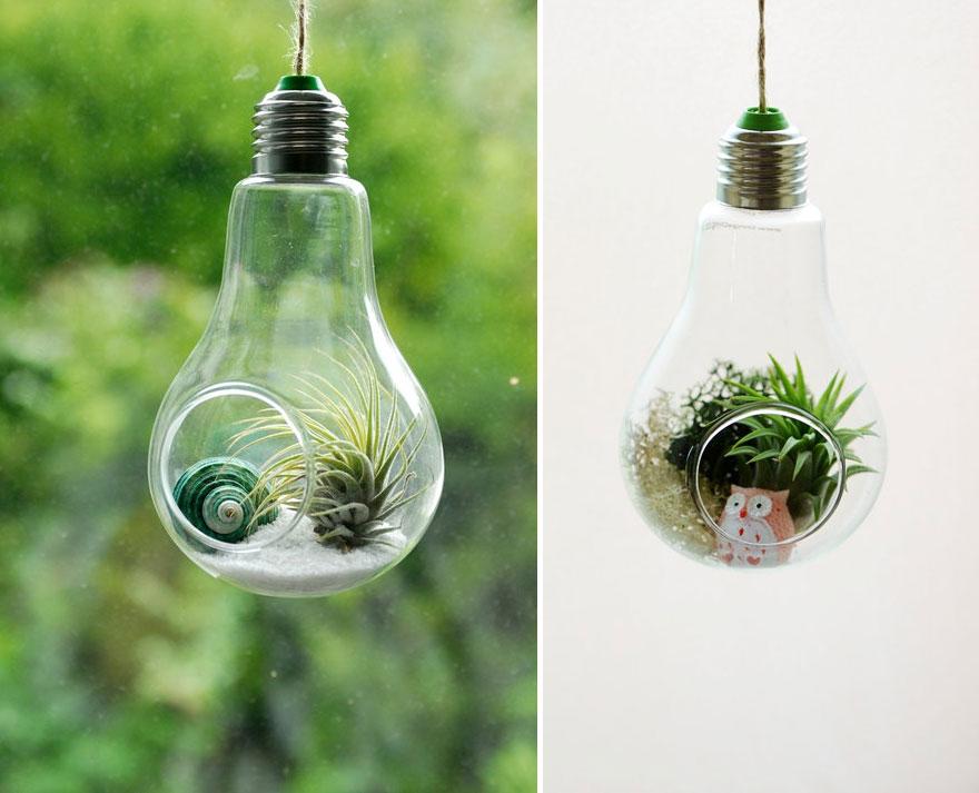 Riciclare i bulbi delle lampadine: 9 idee creative