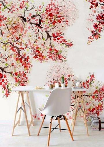ufficio con carta da parati floreale