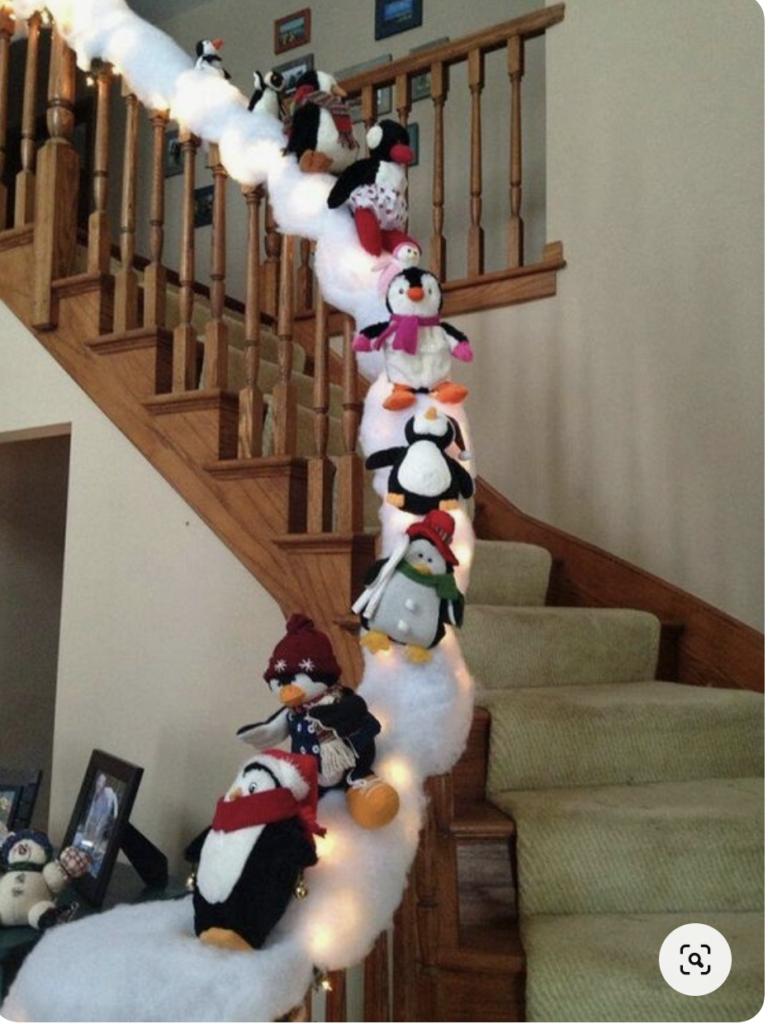 Scala decorata con pinguini