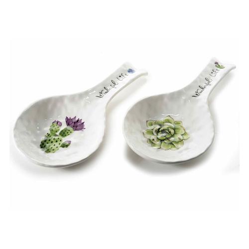 poggiamestolo in ceramica con decorazione a forma di cactus
