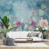 Carta da parati con grandi fiori colorati Florium - Kartemisia.it